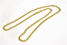 A HALLMARKED MODERN 9CT YELLOW GOLD CHAIN Hollow twisted curb links to trigger claw fastener 18