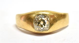 A 1.25 CARAT DIAMOND SOLITAIRE YELLOW GOLD SIGNET RING The deep old cushion cut diamond with culet