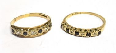 TWO 9CT GOLD STONE SET HALF ETERNITY RINGS one comprising small sapphire and diamonds, the other