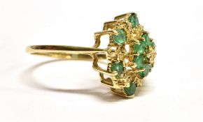 AN EMERALD AND DIAMOND CLUSTER 9CT GOLD DRESS RING multi-tiered openwork cluster, ring size Q, gross