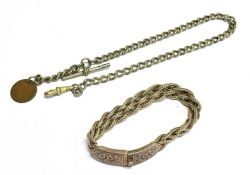 TWO ITEMS OF JEWELLERY Comprising a Thailand 925 marked fancy bracelet with floral pattern
