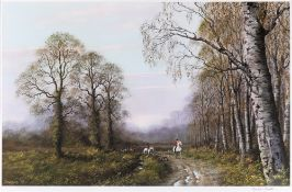 [HUNTING]. JOHN CAESAR SMITH (BRITISH, B.1930) Huntsmen at a woodland edge, colour print, limited