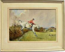 [HUNTING]. ERIC GODDARD (BRITISH, 20TH CENTURY) Huntsman taking a hedge, watercolour, signed and