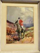 [HUNTING]. ERIC GODDARD (BRITISH, 20TH CENTURY) Huntsman on a dark bay horse, possibly Exmoor,