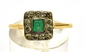 A SMALL EMERALD AND DIAMOND SQUARE CLUSTER YELLOW GOLD RING the small square cut emerald measuring