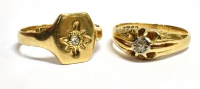 TWO GENT'S DIAMOND SET 9CT GOLD SIGNET RINGS comprising a gypsy set ring with small illusion set old