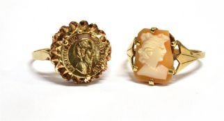 TWO 9CT GOLD DRESS RINGS comprising a cameo set, ring size N, and a medallion set, ring size P,