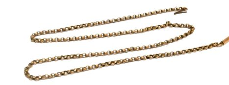 A VICTORIAN 9CT ROSE GOLD CHAIN the belcher link chain with barrel snap clasp, 18 inches long,