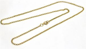 A 9CT GOLD CHAIN the fine belcher link chain with bolt ring fastener, 18 inches long, weighing