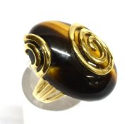 A TIGER'S EYE SET 9CT GOLD DRESS RING large oval cabochon cut tiger's eye 30mm x 20mm, 9ct gold