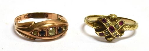 AN 18TH/EARLY 19TH CENTURY DIAMOND AND RUBY RING