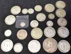 GREAT BRITAIN - ASSORTED SILVER COINS including a George II twopence, 1735; and Victoria crown,