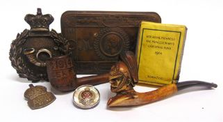 ASSORTED MILITARIA comprising a Great War Princess Mary Christmas 1914 brass gift tin, complete with