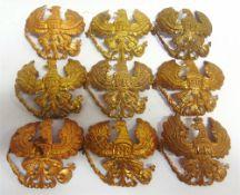 NINE GREAT WAR IMPERIAL GERMAN PRUSSIAN PICKELHAUBE HELMET PLATES