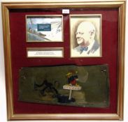 [WINSTON CHURCHILL & THE BATTLE OF BRITAIN]. AN AIRCRAFT WING OR FUSELAGE ACCESS PANEL stated to