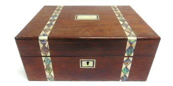 A VICTORIAN ROSEWOOD, MOTHER OF PEARL & ABALONE INLAID SEWING BOX and contents, comprising mother of