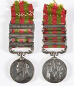 AN INDIA MEDAL TO SERGEANT A.G.F. CLARKE, COMMISSARIAT & TRANSPORT DEPARTMENT with three clasps