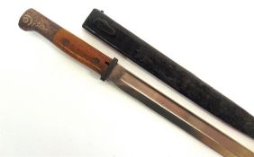 A GREAT WAR IMPERIAL GERMAN SEITENGEWEHR M1914 BAYONET the 30cm single edged blade with a wide