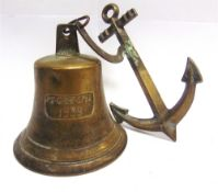 A COMMEMORATIVE BRASS BELL marked 'PS . GRAF . SPEE / 1939', complete with clapper, 19.5cm high,