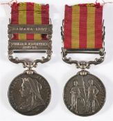 AN INDIA MEDAL TO PRIVATE H. CARR, ROYAL IRISH REGIMENT with two clasps Punjab Frontier 1897-98