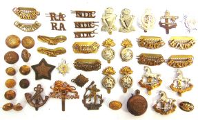ASSORTED CAP BADGES, SHOULDER TITLES, BUTTONS & OTHER ITEMS including those of 13th Australian Light