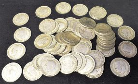 GREAT BRITAIN - ASSORTED HALF-SILVER HALFCROWNS, 1920-46 mainly George V, (total approximately