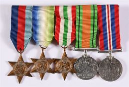 A SECOND WORLD WAR GROUP OF FIVE MEDALS comprising the 1939-45 Star; Atlantic Star; Italy Star;