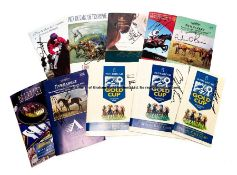 Signed National Hunt and Flat racecards, signed in marker pen and ink, including Dettori, Fallon,