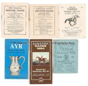Collection of various Flat racecards, including two for Lingfield Park 1915 and 1919, and Redcar