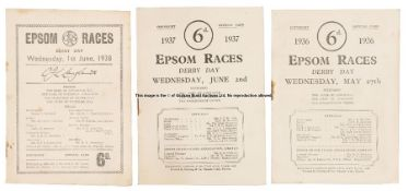 Three mid-1930s Epsom Derby Day racecards, all Dorling's, for 1936 (Mahmoud), 1937 (Mid-day Sun) and