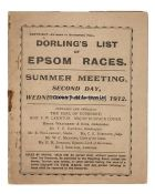 An early Epsom Derby Day racecard from 1912, printed by Dorling's List, the race won by Tagalie,
