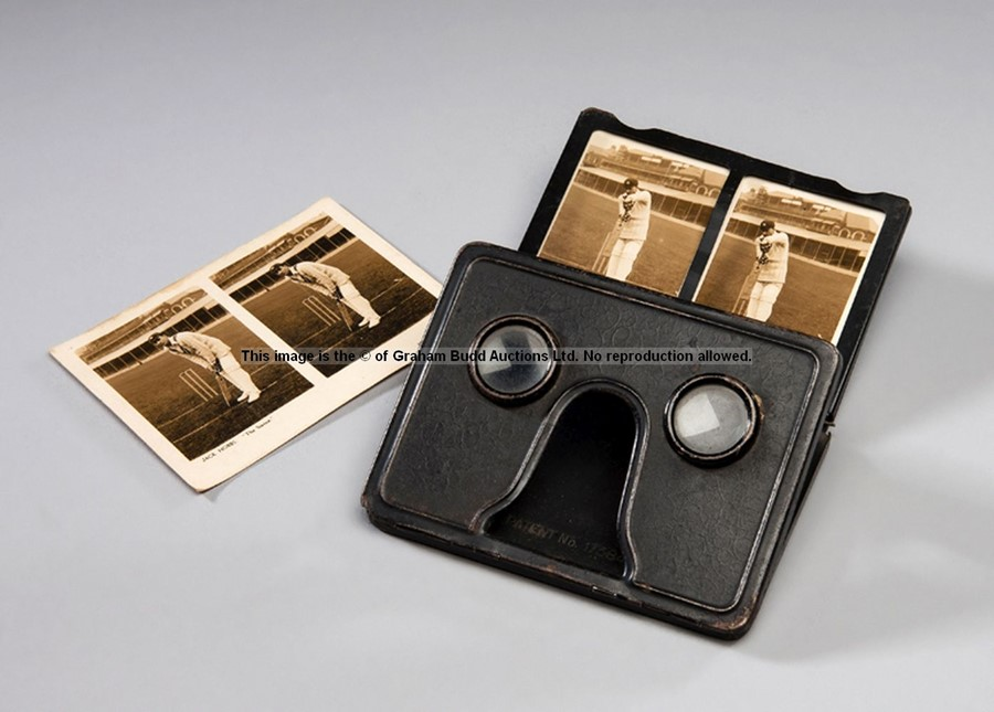 Stereoscope viewer with a pair of cards for the cricketer Jack Hobbs, by Camerascopes Ltd., No.