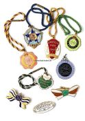 Collection of 34 English racecourses members' race badges dating between 1947 and 1997,
