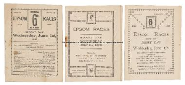 Three 1920s Epsom Derby Day racecards, all Dorling's, comprising 1927, 1928 and 1929