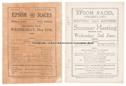 Two 1920s Epsom Derby Day racecards, both Dorling's, for 1920 (punch-holed) and 1925 (Steve Donoghue