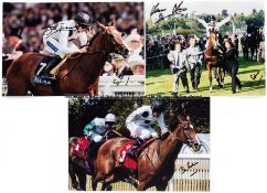 Collection of signed photographs relating to the racehorse Soviet Song, approximately 12 photographs