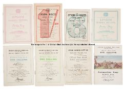 Eight 1950s Epsom Derby Day racecards, comprising 1950 (Galcador), 1951 (Arctic Prince), 1952 (