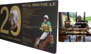 A.P. McCoy signed retirement tribute canvas with images and statistics, lettered WE'LL MISS YOU A.P.
