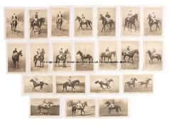 Vintage b&w postcards of racehorses circa 1926, issued by the British Charities Association, with