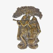 An Indian cast brass Hindu deity plaque, probably 19th century.
