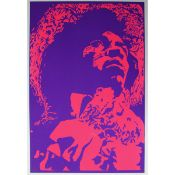 A Psychedelic screenprinted poster of Jimi Hendrix.