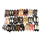 A large collection of twenty pairs of vintage and retro shoes.
