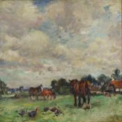 Fisher, Mark William 1841-1923 American Horses and Hens in a Farm Landscape.