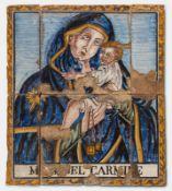 """Manifattura Italiana, Placca in maiolica raffigurante """"Madonna del Carmine"""", XVIII sec."""