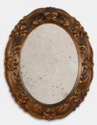 Specchierina ovale in legno intagliato, inizio del XX sec.