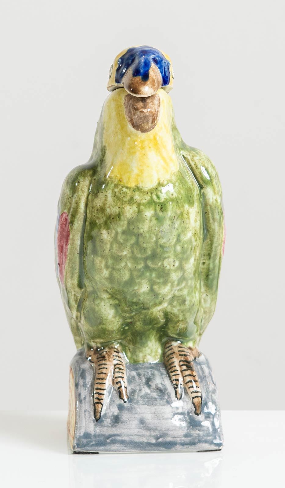 Manifattura Minghetti - Bologna, Versatoio a foggia di pappagallo in ceramica, Anni '30. - Image 2 of 5