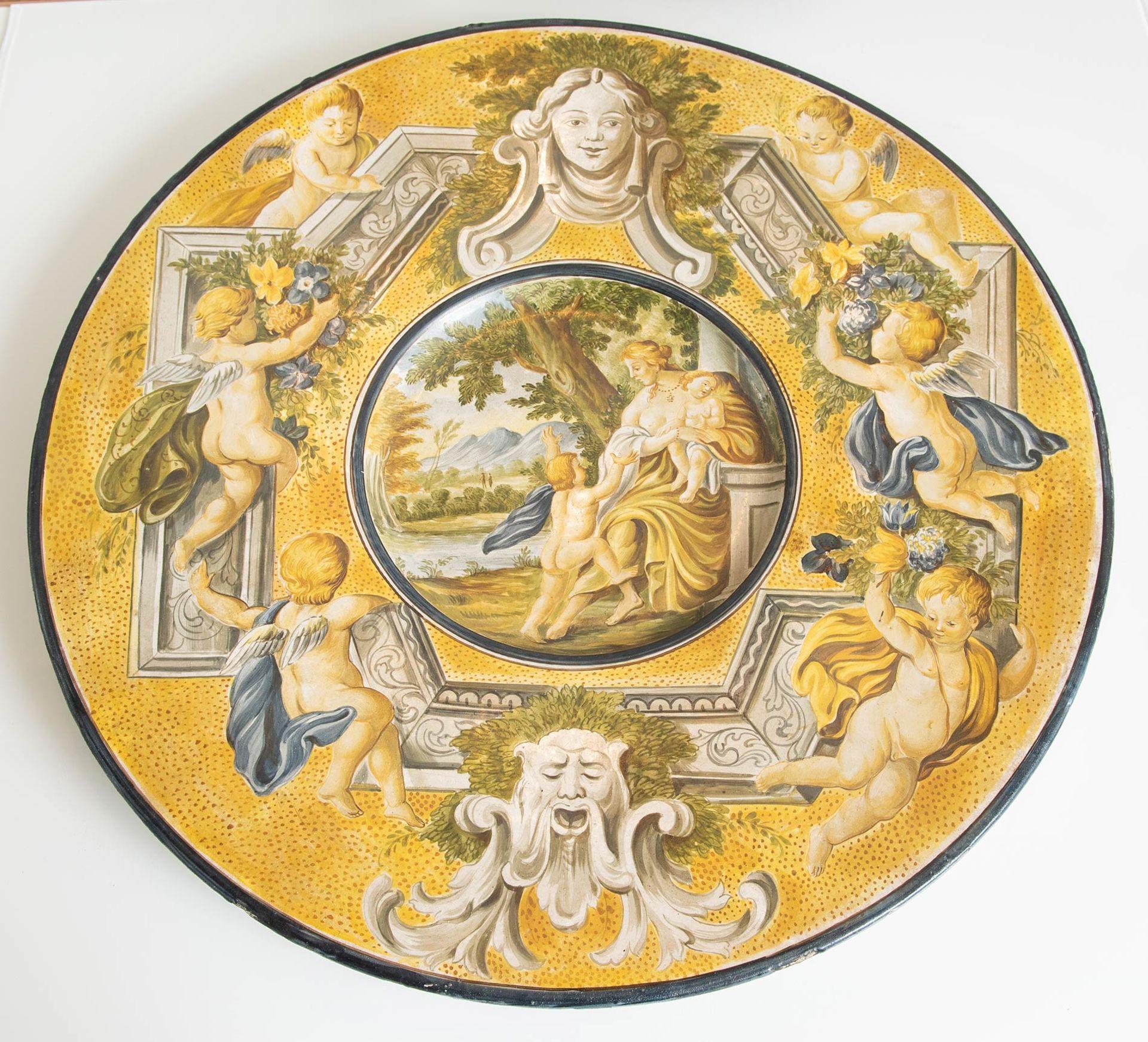 Los 19 - Grande piatto in ceramica, Italia, inizio del XX sec.