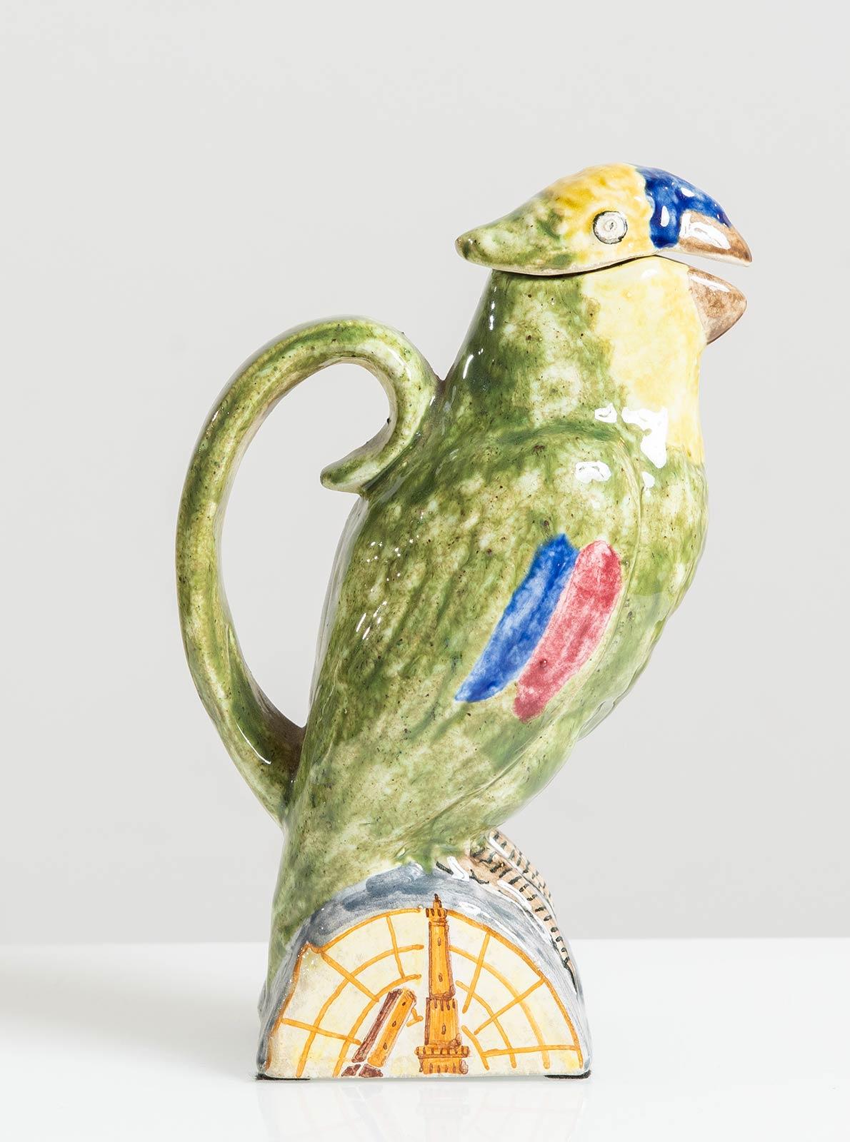 Manifattura Minghetti - Bologna, Versatoio a foggia di pappagallo in ceramica, Anni '30. - Image 5 of 5