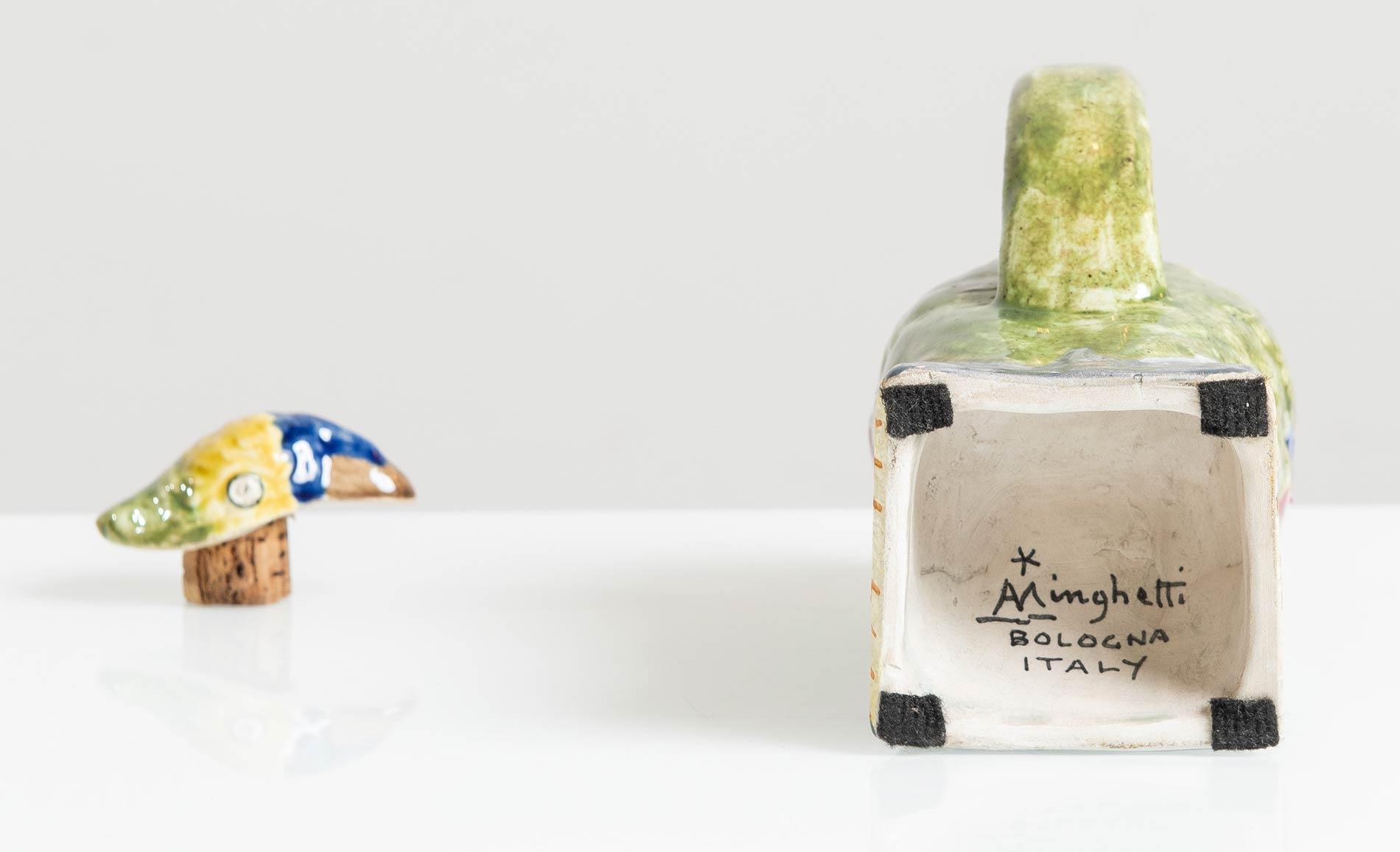 Manifattura Minghetti - Bologna, Versatoio a foggia di pappagallo in ceramica, Anni '30. - Image 4 of 5
