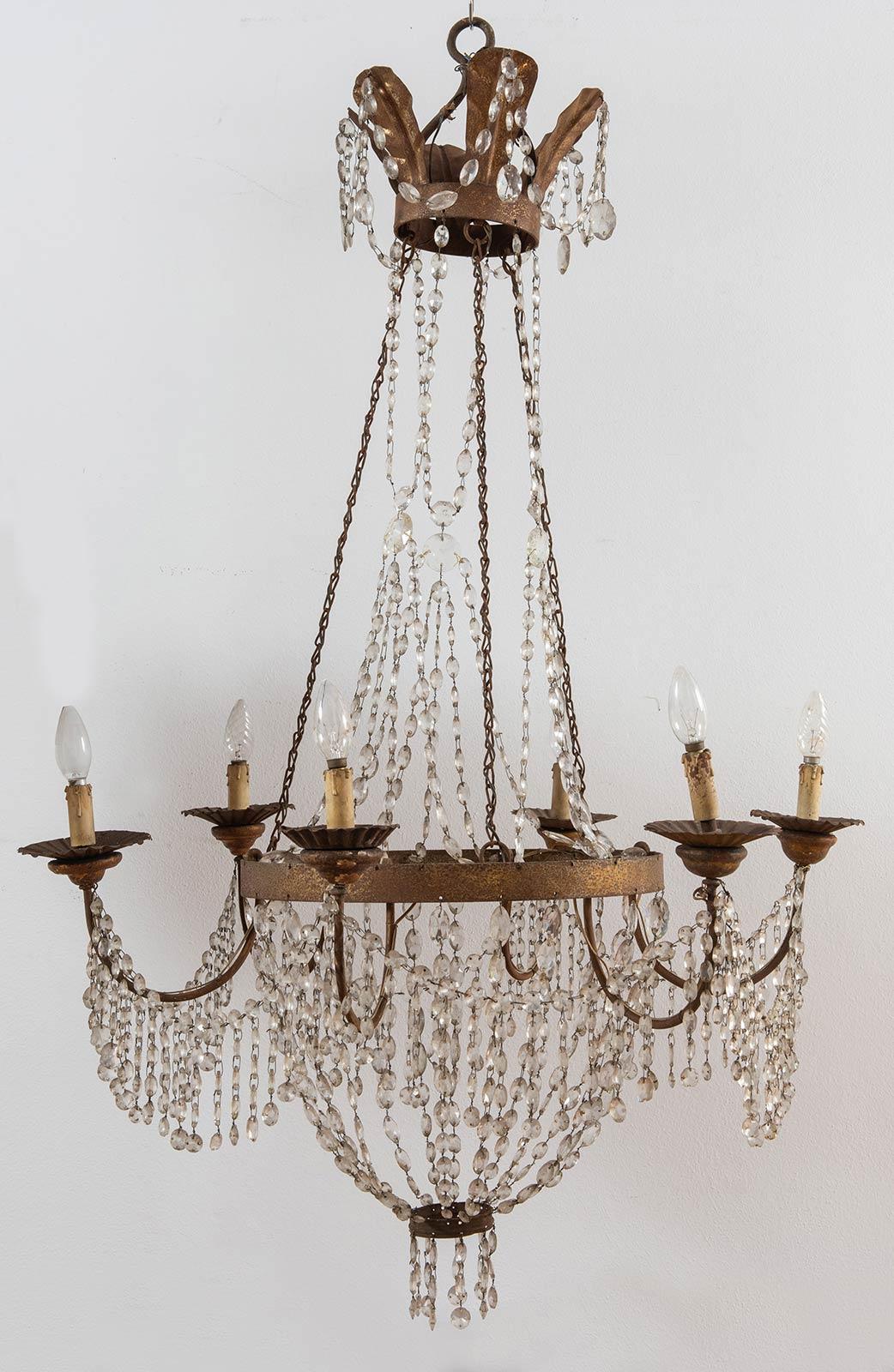 Lampadario con gocce di cristallo a sei luci, XIX sec.